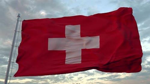 Swiss Flag Waving in the Wind