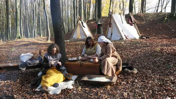 Thumbnail for Viking women cooking and sewing