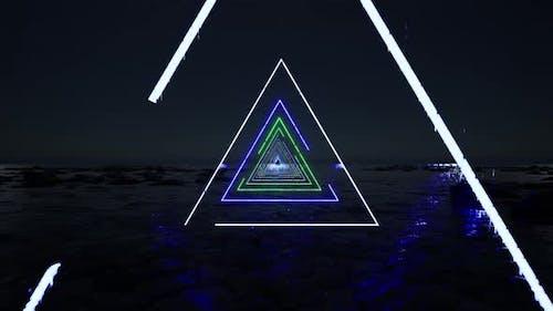 Neonlichter Einladung Dreiecke Vorlage 90er Jahre Party Flyer auf hellem Hintergrund Einladung Design.