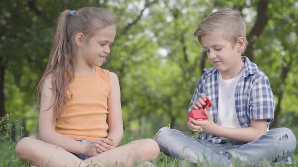 Thumbnail for Pretty Little Girl and the Handsome Boy Sitting on the Grass Together. The Boy Taking a Small Red