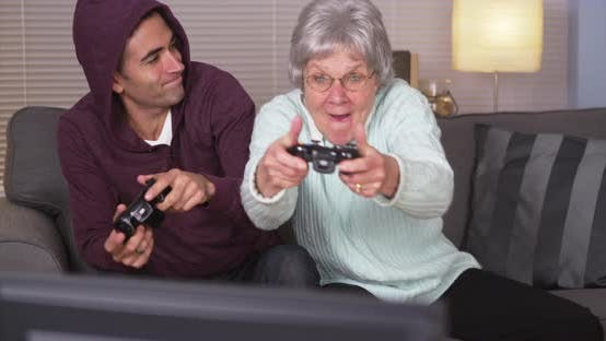 Thumbnail for Crazy grandma beating her grandson at videogames
