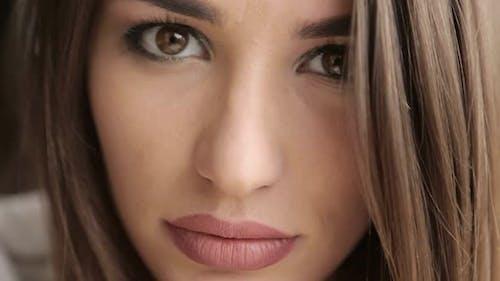 Beautiful face model, macro, beautiful brunette