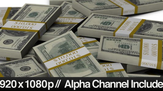 Thumbnail for Stacks of $100 Bills Falling into a Pile