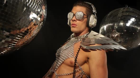 Thumbnail for disco man sexy discoball silver party music muscular torso