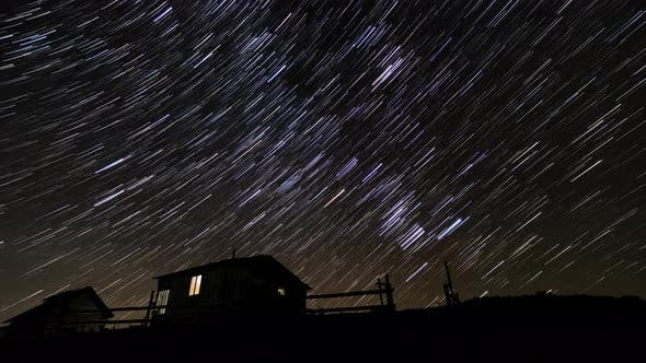 Thumbnail for Comet-shaped Star Trails in the Night Sky