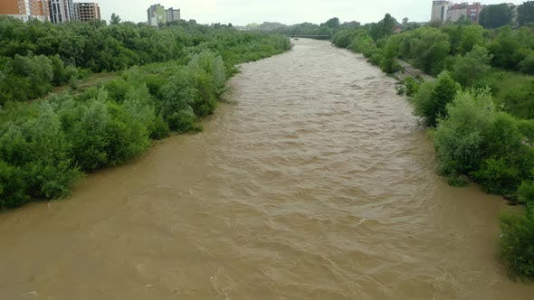 Thumbnail for Aerial Drone View. Rriver Water Big and Dirty After Heavy Rain. Wide View