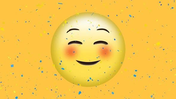 Blushing emoji and confetti