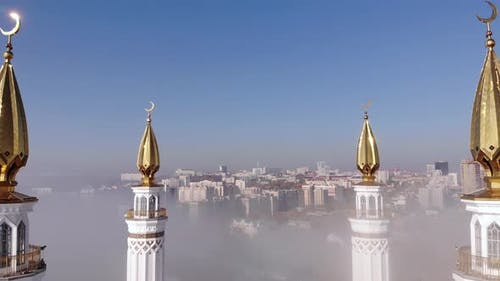 """Cathedral mosque """"Ar-Rahim"""" in the fog"""