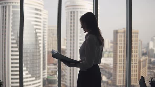 Thumbnail for Silhouette of a Woman Working in the Office