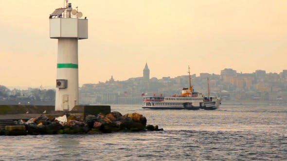 Thumbnail for Istanbul Bosphorus with Ferry Passing By
