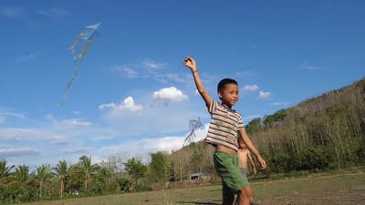 Asian Children Playing With Kite