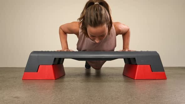 Thumbnail for Athlete Doing an Elevated Push Ups on a Step Box