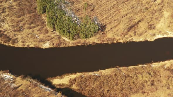 Aerial View Curved River In Early Spring Landscape