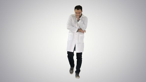 Thumbnail for Tired doctor walking on gradient background