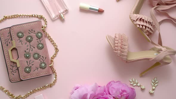 Thumbnail for Fashion Women Stylish Accessories Outfit Composition. Pink Pastel Background with Copy Mock Up Space