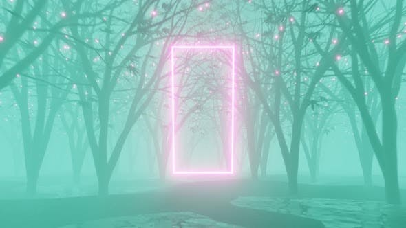 3D rendered loop animation of rotating neon rectangle in mystical foggy forest