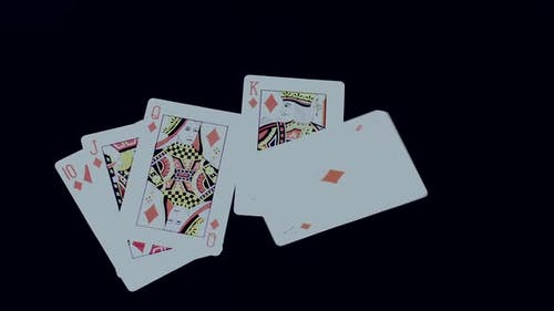 Playing Poker  Royal Flush Diamonds