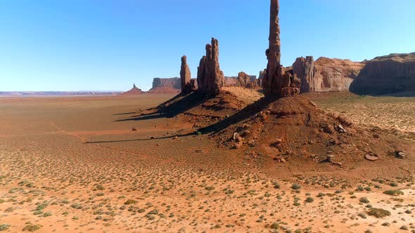 Thumbnail for Aerial  View of the High Sharp Peaks of the Monument Valley.