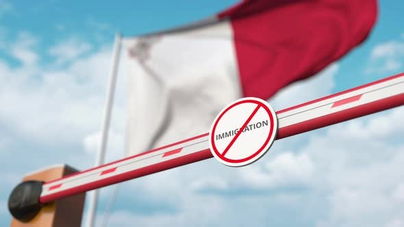 Opening Barrier with Stop Immigration Sign at Flag of Malta