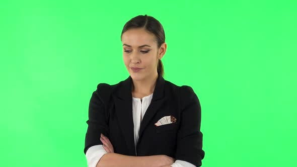 Thumbnail for Lovely Girl Is Very Offended and Looks Away. Green Screen
