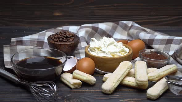 Cover Image for Frame Made of Ingredients for Making Traditional Italian Dessert Tiramisu