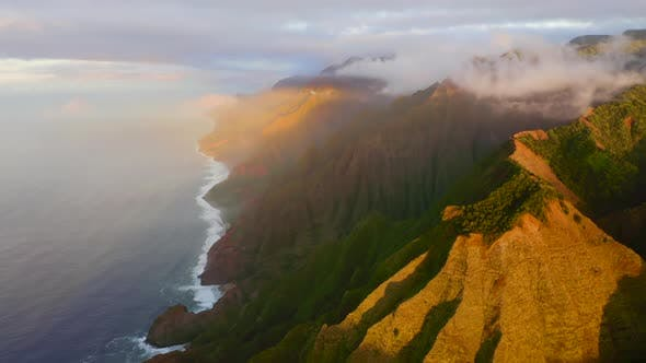 Thumbnail for Peaceful Hawaiian Coastline Panorama Under Dramatic Sunset Light, Aerial Footage