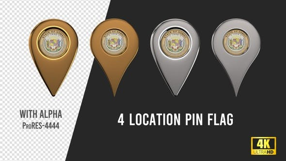 Hawaii State Seal Location Pins Silver And Gold