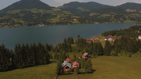 Aerial view of Colibita lake