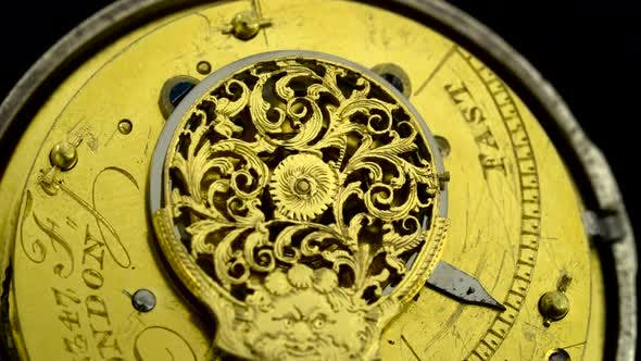 Thumbnail for Gears the Mechanism of a Vintage Pocket Watchl. Close Up. Back Background. Sound