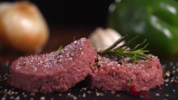 Plant Based Vegan Burger Meat Fake Vegeterian Beef Meat Close Up Fresh Impossible Veggie Food Beyond