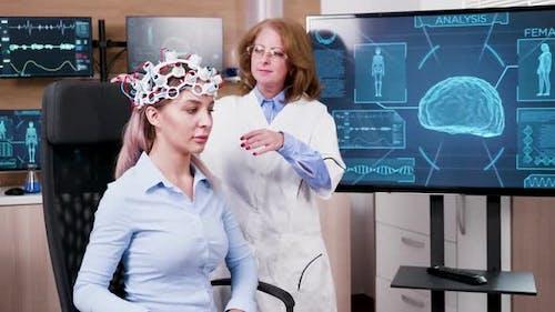 Female Doctor in a Modern Neuroscience Facilty
