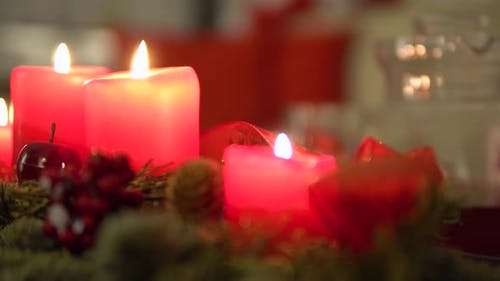 Christmas Advent Candles on a Table in an Apartment - Closeup