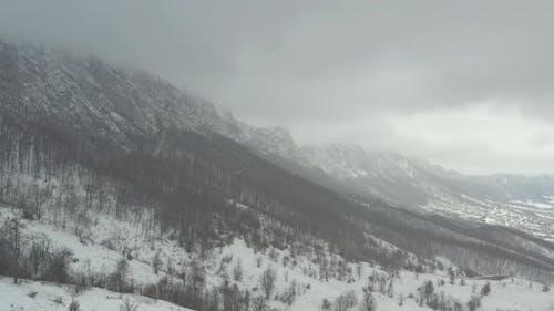 Mountain ridge in Eastern Serbia in January 4K aerial footage