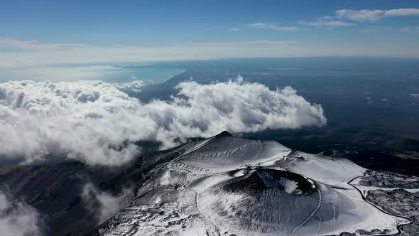 Thumbnail for Mount Etna on the Island of Sicily in the Early Morning. Bird's Eye View