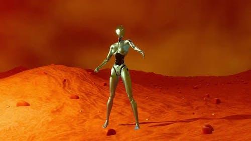 A female Cyborg in a Space ship