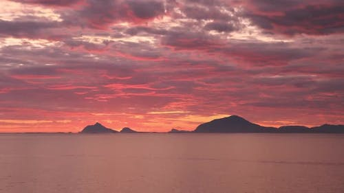 Time-lapse landscape of the sunset from Donna island, Norway, Nordland County, Helgeland region.