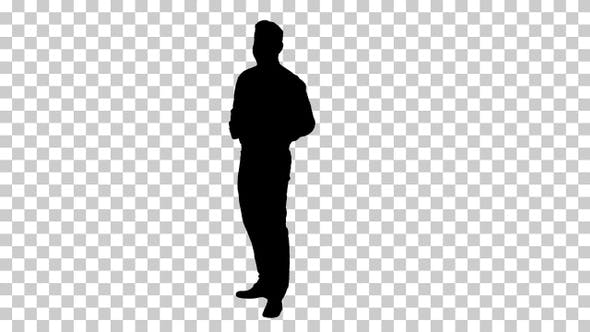 Thumbnail for Silhouette businessman walking in, Alpha Channel