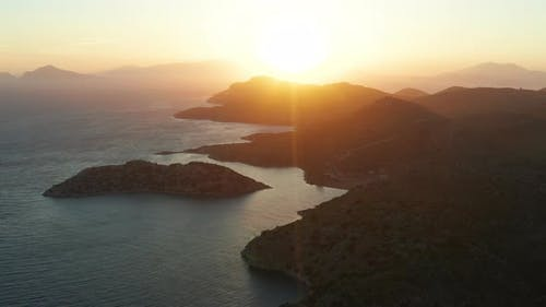 Aerial View at Sunset at Sea in Turkey