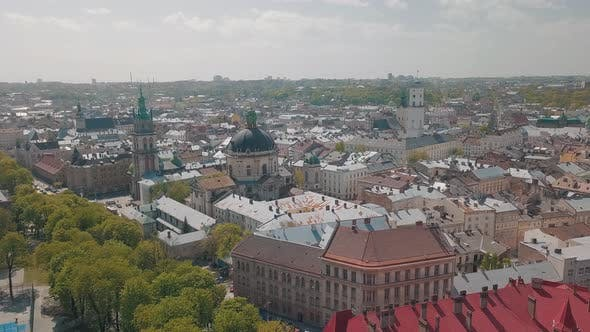 Lvov, Ukraine. Aerial City Lviv, Ukraine. Panorama of the Old Town. Dominican