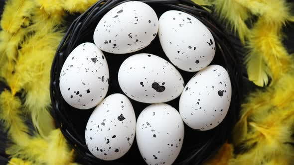 Thumbnail for Whole Chicken Eggs in a Nest on a Black Rustic Wooden Background