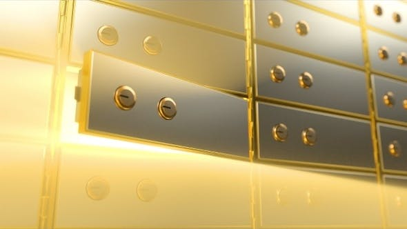Thumbnail for Safety Deposit Box with Bright Light Inside It Opening, Angle View