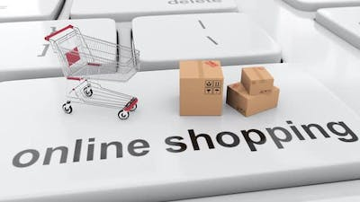 Shopping cart and online shopping order in the internet e-shop e-commerce 3d