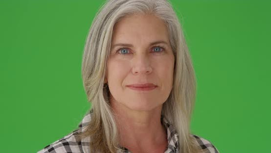 Thumbnail for Closeup of mid-aged caucasian woman on a greenscreen