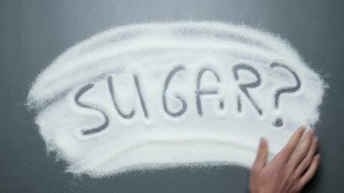 Text Zucker? Handschrift enthüllt auf Zucker. Kein Zucker.