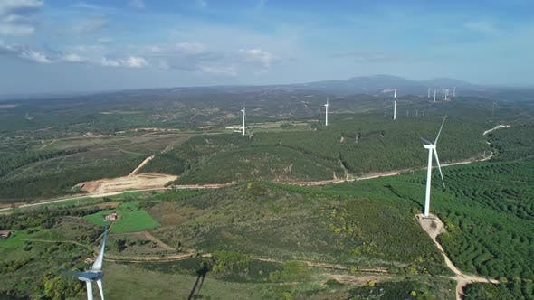 Thumbnail for Aerial of Windmills or Wind Turbine on Wind Farm