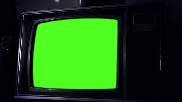 Thumbnail for Vintage Television Set with Green Screen.