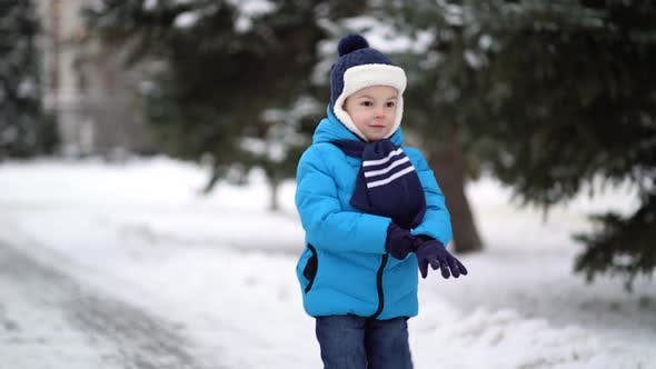 Thumbnail for Cute Four Years Old Boy in Blue Winter Clothes Walks in Snowy Street
