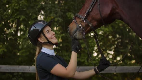 Thumbnail for Girl Stroking Her Horse Slow Motion