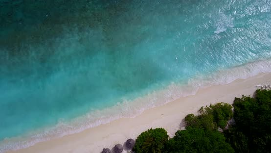 Thumbnail for Daytime fly over abstract view of a sandy white paradise beach and aqua blue ocean background
