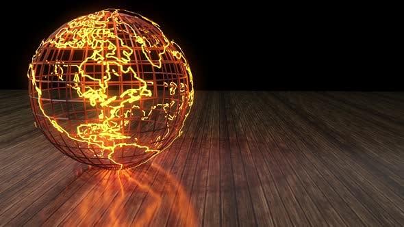 Globus Wireframe auf Holzboden